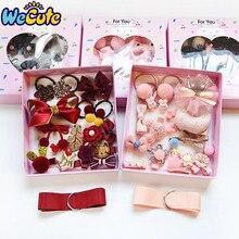 Wecute 18pcs Headband Set Baby Girls Princess Bowknot Crown Hairpins Hair Accessories Venonat Clips Elastic Rin
