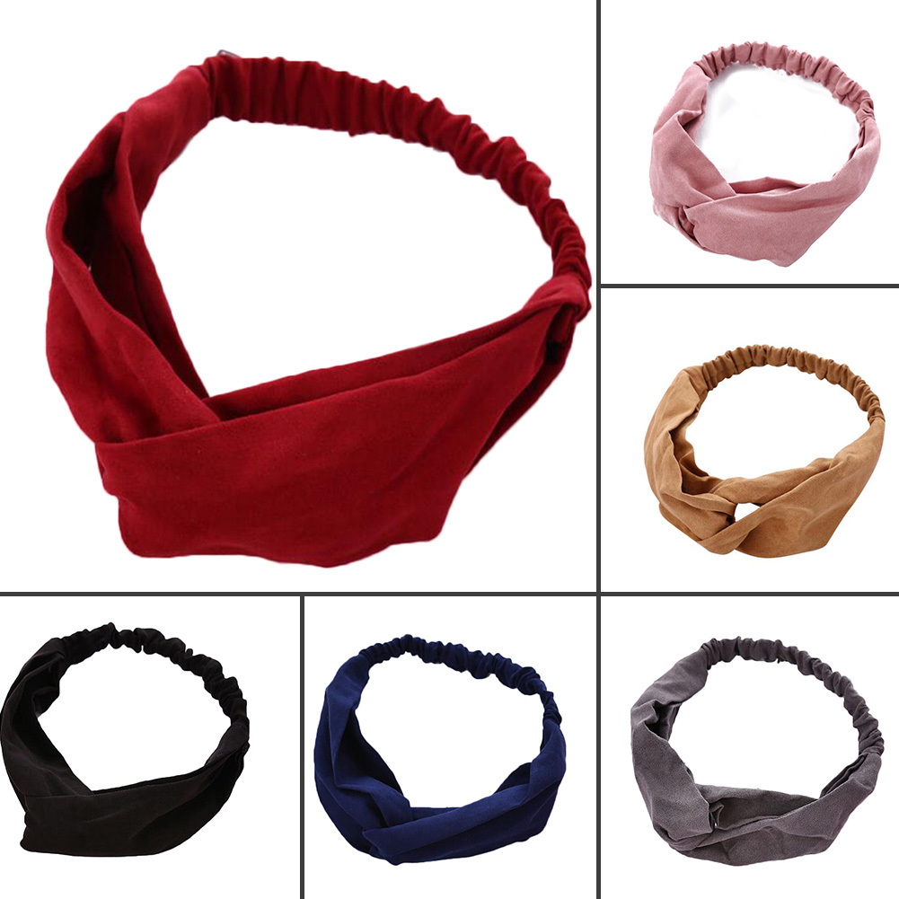 2019 Korean Suede Cross Knotted Headbands Women Solid Color Soft Elastic Hair Bands Hair Accessories For Girls Pink Red   Headwear