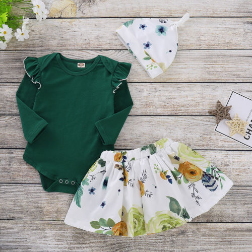 903e5846c9c Newborn Baby Girls Tops Green Romper Floral Skirts Outfits Set Autumn  Clothes 0 24M-in Clothing Sets from Mother   Kids on Aliexpress.com