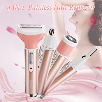 4 IN 1 Women Shaver Painless Face Eyebrow Hair Remover Wet Dry Trimmer Epilator 3 Head 220V-240V Waterproof EU Plug Smoothly