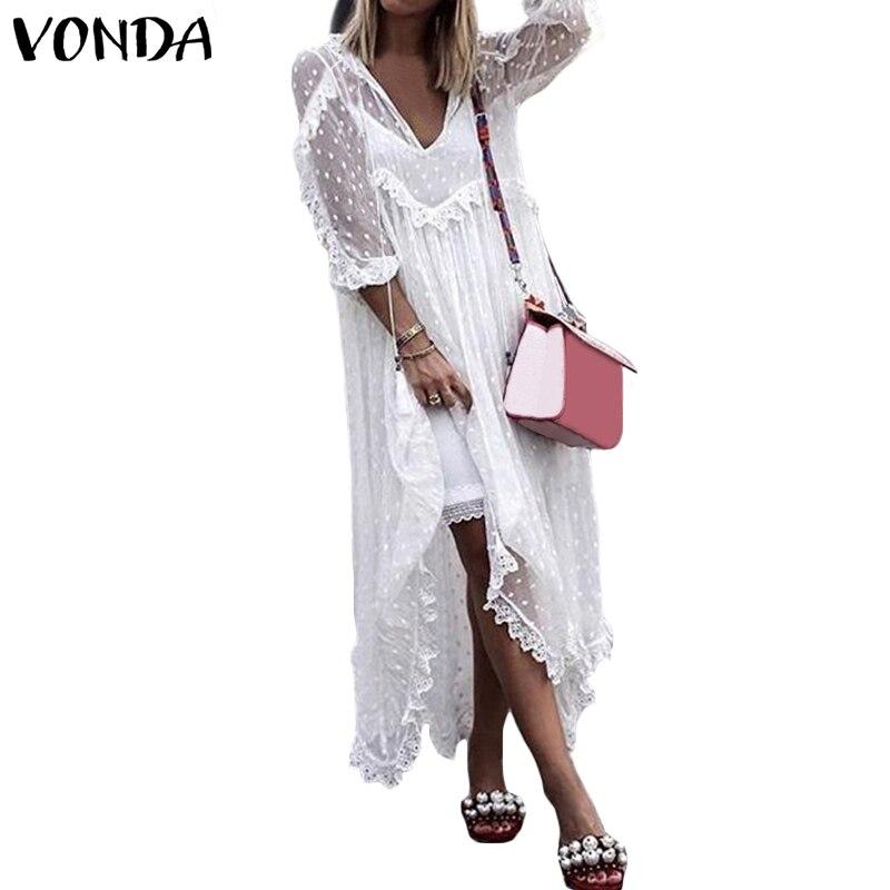 205806b2d VONDA bohemio vestido de verano 2019 de cuello-V Sexy para mujeres ...
