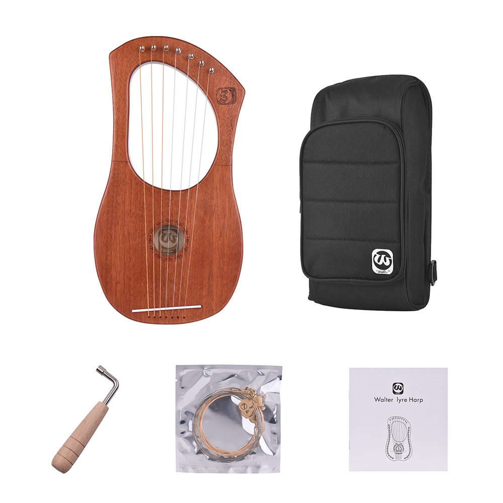 7 String Wooden Lyre Harp Metal Strings Mahogany Solid Wood String Instrument with Carry Bag