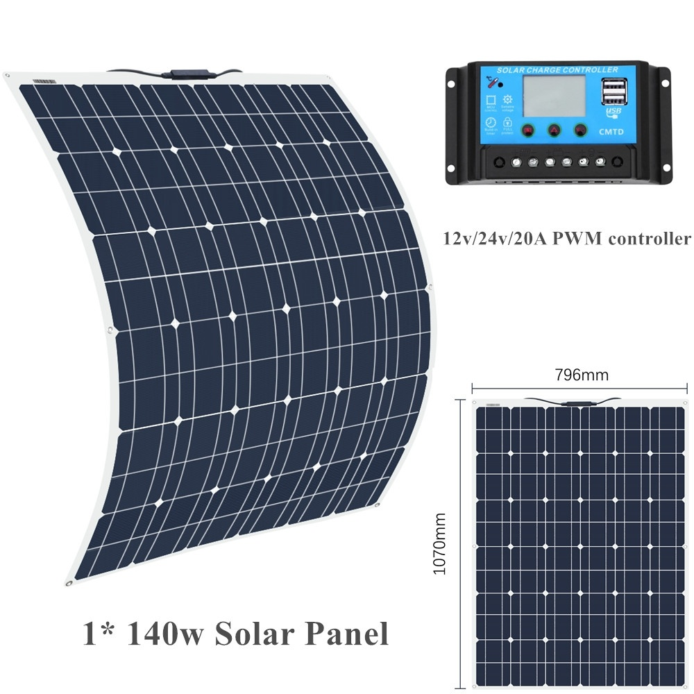 BOGUANG 18V 140W Solar Panel cell with 20A Panneau solaire flexible zonnepaneel for Yacht Roof 12v Battery Power outdoor Charger