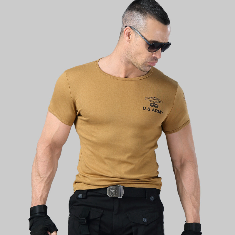 2019 Men's Army   T     Shirt   Summer Military Cotton   T  -  shirt   Body Sculpting Short Sleeve High Elasticity Stretch Slim Fit Male Tshirt