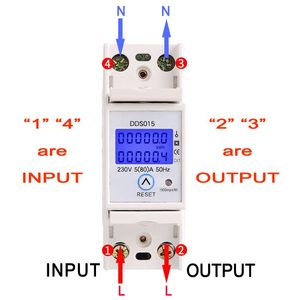 Image 3 - Din Rail Single Phase Wattmeter Power Consumption Watt Electronic Energy Meter kWh 5 80A 230V AC 50Hz with Reset Function