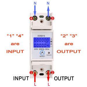 Image 3 - Szyna Din jednofazowy watomierz pobór mocy Watt elektroniczny licznik energii kWh 5 80A 230V AC 50Hz z funkcja resetowania