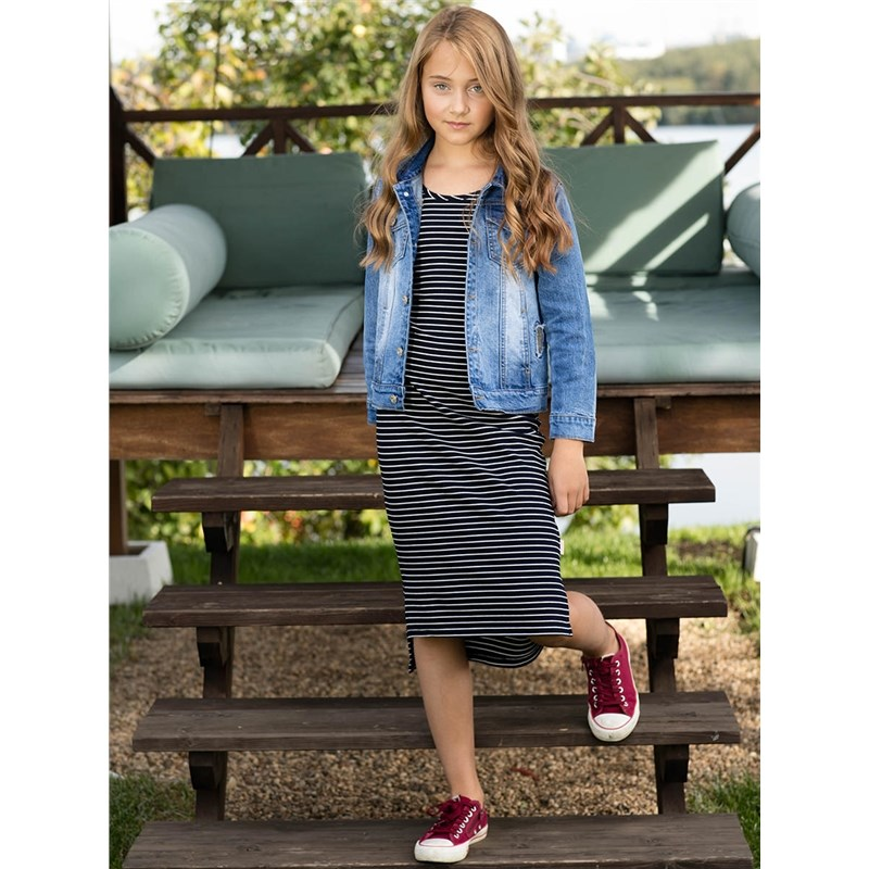 [Available with 10.11] dress knitted girls knitted striped mini dress