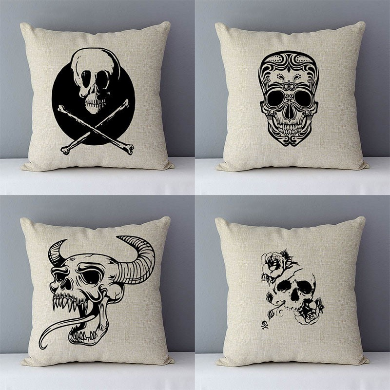 Black Skull Sketch Couch Cushion Cover 45x45cm Decorative Pillows Cotton Linen Pillowcase Child Living Room Cushions Home Decor