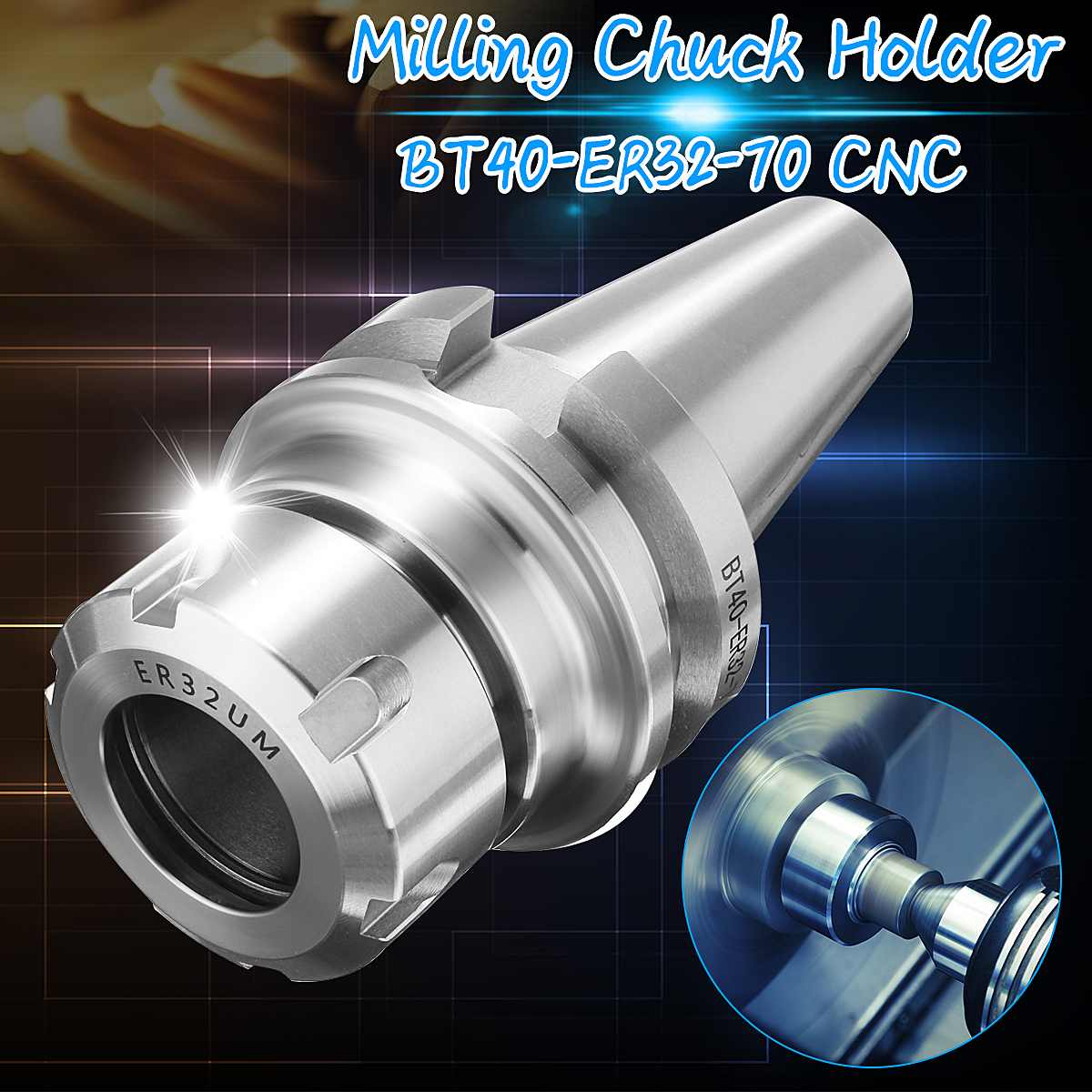 BT40 ER32 70 Spring Collet Chuck CNC Toolholder Milling Lathe Cutter Milling Cutter CNC Arbor Chuck Holder Workholding Nuts-in Tool Holder from Tools