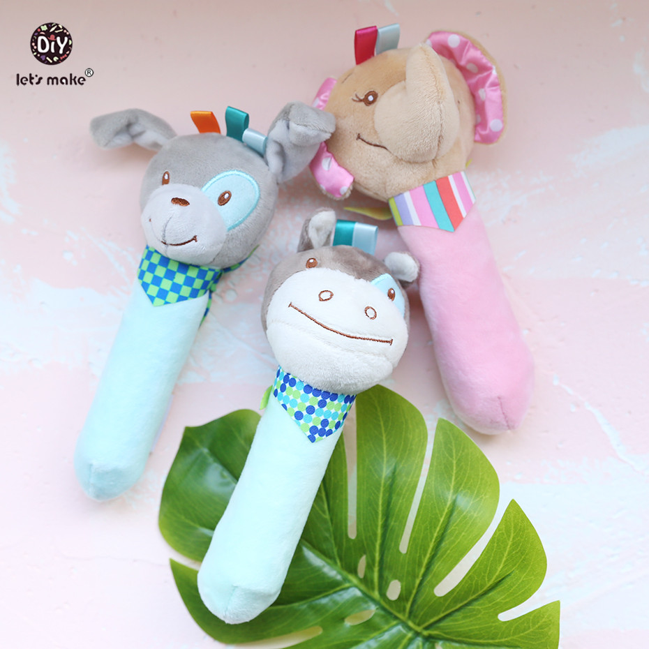 Let's Make 1pc Rattle Animal Montessori Toys Have Sound Baby Product Educational Toys Newborn Shower Gift Attract Attention