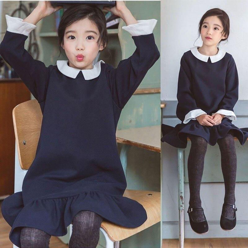 Школьное Хлопковое платье с оборками для девочек подростков детская осенне зимняя одежда с длинными рукавами для маленьких девочек новое поступление 2018