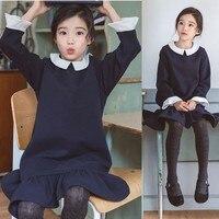 Ruffles School Teen Girls Cotton Dress Children Long Sleeved A Line Autumn Winter Baby Girls Kids Clothing 2018 New Arrive