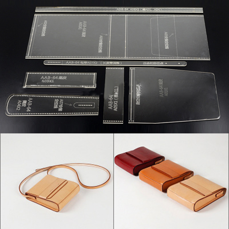 DIY Leather Craft Template Set Acrylic Shoulder Bag Cross Body Bag Template Stencil Set Transparent 17*19.5*5cm
