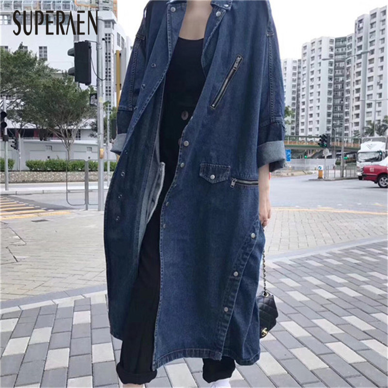 SuperAen Long Loose Denim   Trench   Coat for Women 2018 Autumn and Spring Ladies Windbreaker New Pluz Size Lapel Women Clothing
