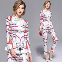 2019 Fashion Chain Printed Suit Sets 2 Piece Bow Collar Full Sleeve Shirt Top + Belt Pencil Pants Sets For Women Runway Twinsets