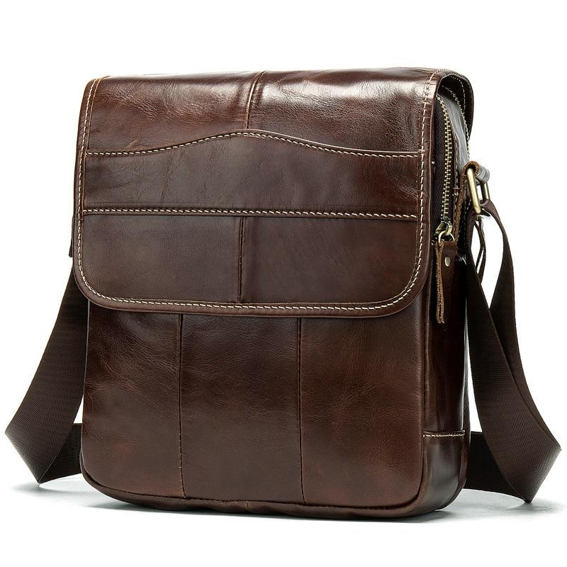 Fashion Shoulder Bags For Men Genuine Leather Business Briefcase Men Crossbody Bag Satchel  Vintage Messenger Bags Bolso Hombre
