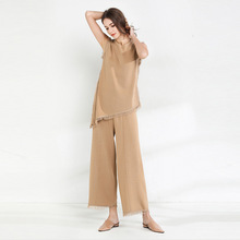 Sleeveless Knitting Irregular T-shirt and Wide Leg Pants loose Tassels and trimmings Spring And Summer Twinset pantsuit women stylish monkey king printed t shirt and pencil pants twinset for women