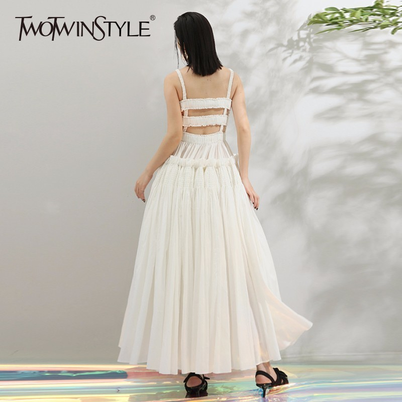 TWOTWINSTYLE Backless Maxi Dress Female Hollow Out High Waist Ruffles Patchwork Draped Spaghetti Strap Party Dresses