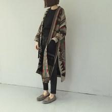 Ретро Национальный Ветер геометрический длинный рукав вязаные свитеры женские кардиган пальто Повседневные свитера в стиле бохо