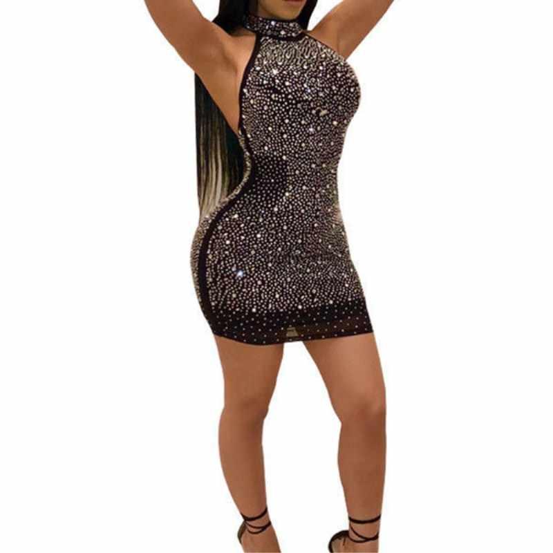 2019 mujeres Sexy Lady Bling vestido sin espalda bodycon fiesta de noche Mini Vestido corto de talla grande S-3XL