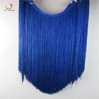 50cm/long Tassel Fringe Trimming Lace Ribbon Dance Latin Dress Macrame Samba Clothing DIY Lace Single Band decoration Royal blue