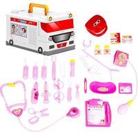 Kids Ambulance Doctor Toys Pretend Play Children Medicine Chest Doll Uniform Stethoscope Cosplay Nurse Dentist Medical Box set