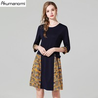 3/4 Sleeve Fashion Print Stitching Dress Women's O Neck Loose A line Dress 2019 Spring Autumn Office Lady Mini Dresses Plus Size