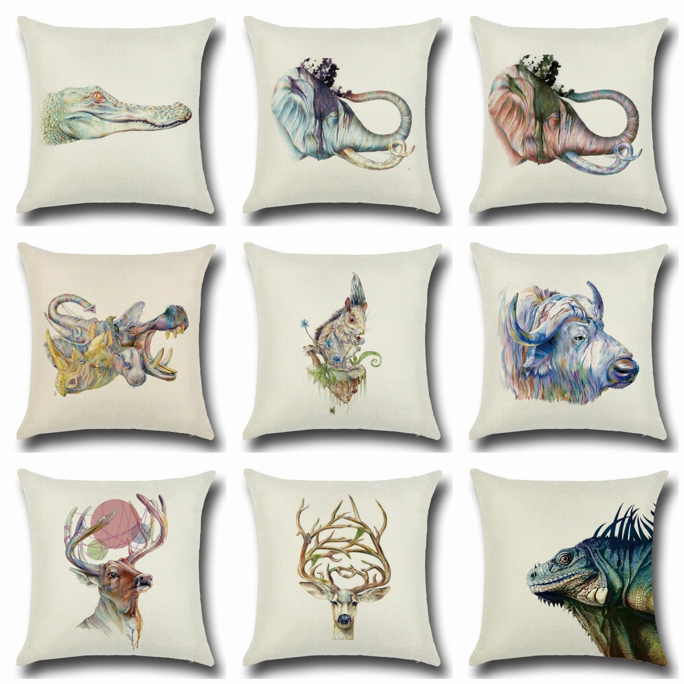 HGLEGYW Animal Pillow Case Throw Pillowcase Cotton Linen Printed Pillow Covers For  Office Home Textile