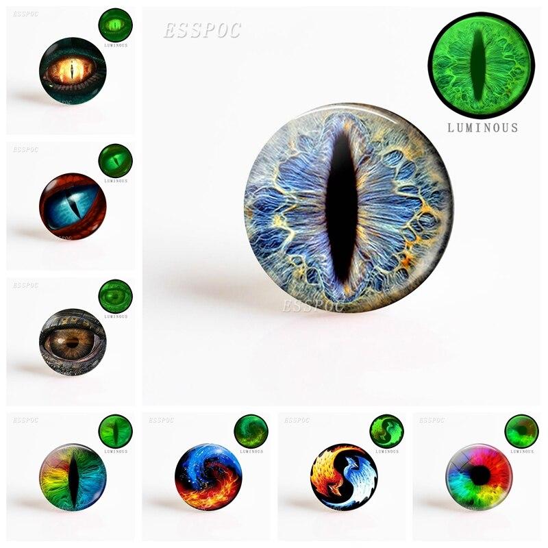 5PCS Frost Dragon Eye Resin Glass Cabochon DIY Fashion Accessories Luminous Glass Dome Glow Jewelry