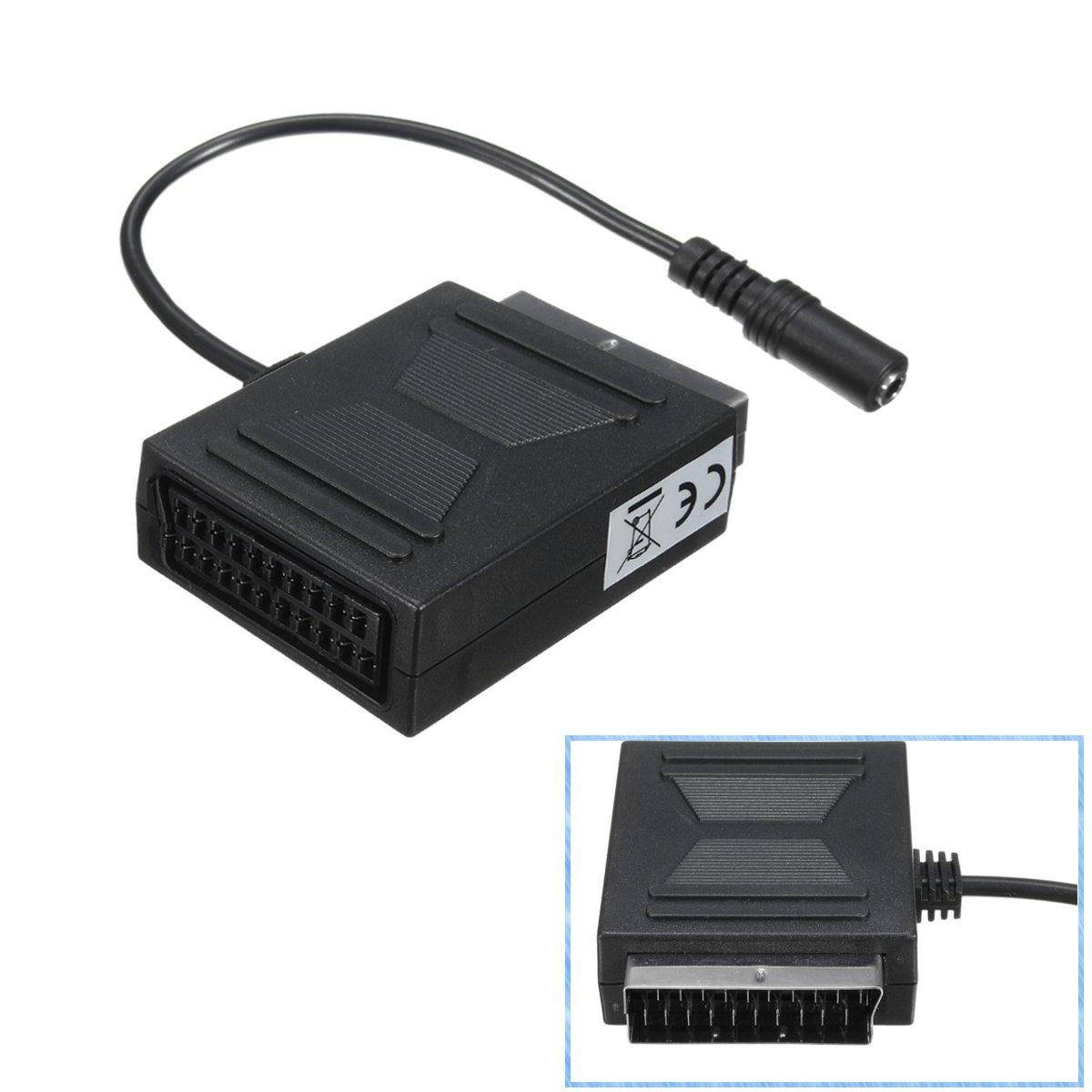 Adaptateur péritel stéréo noir, câble de connecteur, SCART mâle vers sortie Femelle 3.5mm