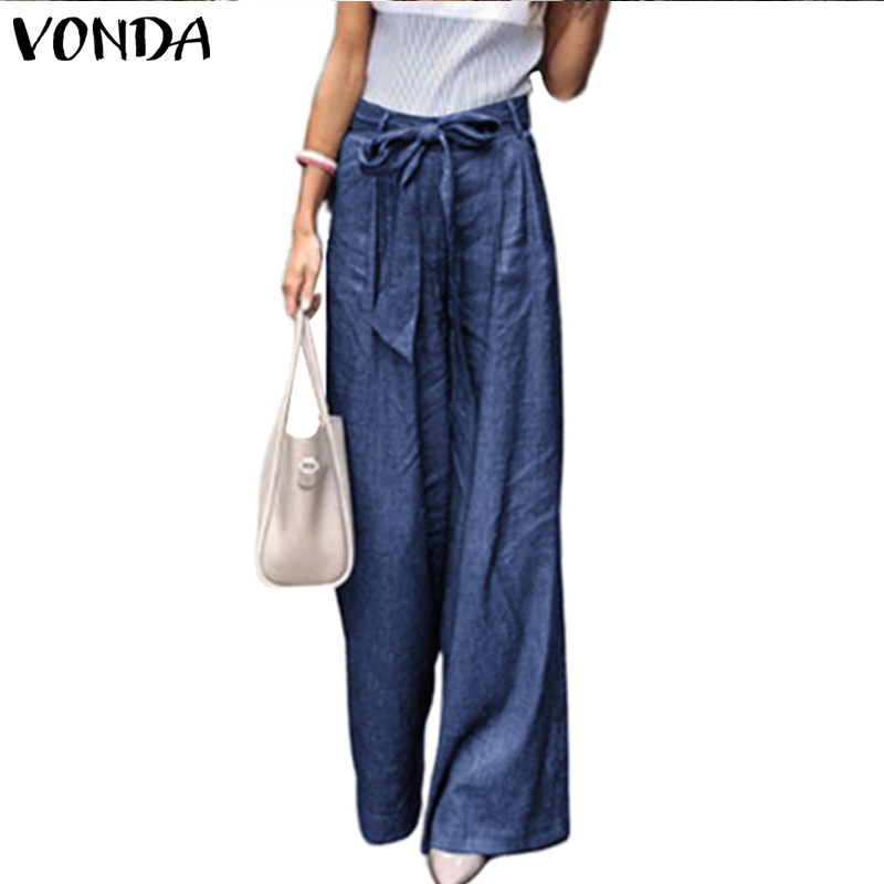 VONDA Women   Wide     Leg     Pant   2019 Casual Vintage   Pants   High Waist Belt Trousers Bohemian Pantalon Femme Overalls Plus Size S-5XL