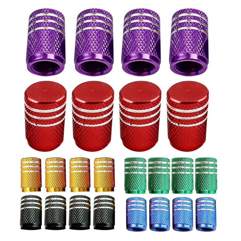 4Pcs Universal Aluminum Car Tyre Air Valve Caps Bicycle Tire Valve Cap Car Wheel Styling Round Red Black Blue Silver Gold