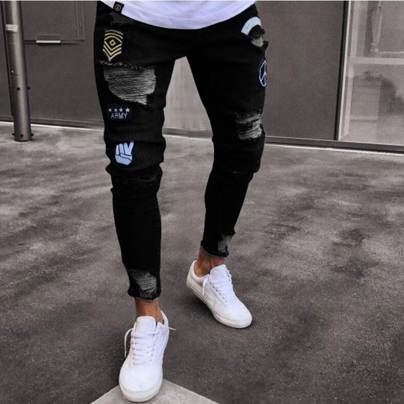 Men Denim Ripped Hole Jeans Slim Biker Jeans Fashion Hip Hop Skinny Striped Pencil Jeans For Men Stretch Embroidery Jeans