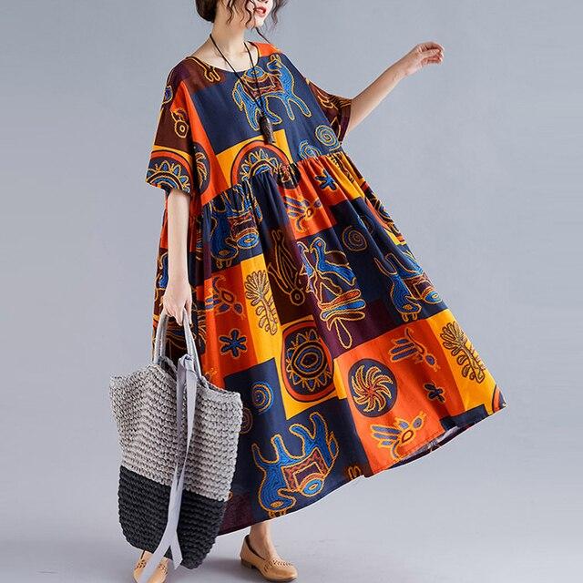 Plus Size Ethnic Vintage Print Dress Women Summer Long Cotton Linen Plaid Dress Casual Loose Ladies Dresses 4XL 5XL 6XL 2020 New 2