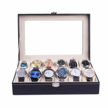 High Quality 12 6 10 Grids PU Leather Watch Box Case Professional Holder Organizer for Watches Jewelry Boxes Display Best gift 6 grids watch display case pu leather jewelry storage box organizer