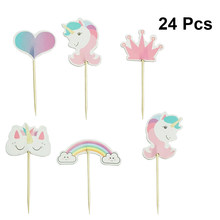 24pcs Unicorn Cake Toppers Animal Cloud Cute Cupcake Dessert Cake Decoration Picks for Baby Shower Birthday Kids Party(China)