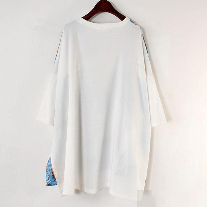 Long Women Europe Fashion 2019 Spring Summer O-neck Short Sleeve T-shirt Female Patchwork Casual Irregular Tee E470 4