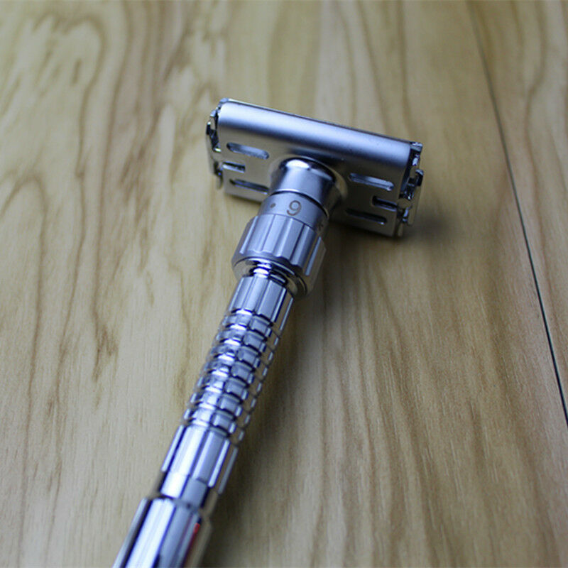 Mens Twist Open Butterfly Safety Adjustable Razor & 5 Double Edge Blades Classic Shaving Vintage