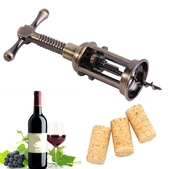 Retro Bottle Opener Wine Double Hinged Rotary Lever Zinc Alloy Antique Bronze Corkscrew Cork Puller Remover Champagne Opener