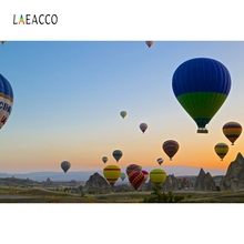 Laeacco Hot Air Balloons Blue Sky Flower Sea Photography Backgrounds Customized Photographic Backdrops For Photo Studio