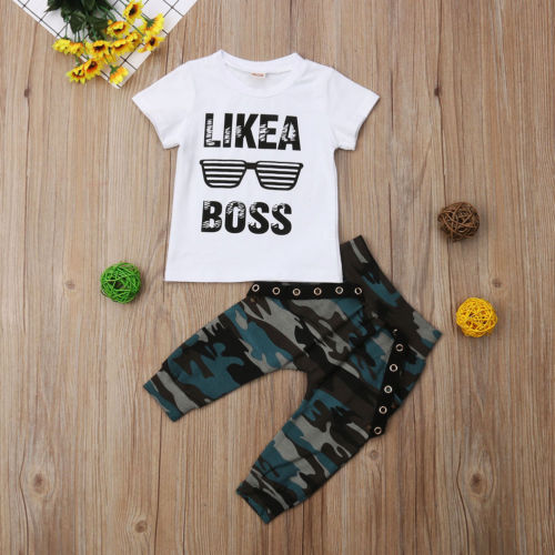 Toddler Kids Baby Boys Tops T-shirt Army Hip-Hop Pants 2PCS Outfits Clothes