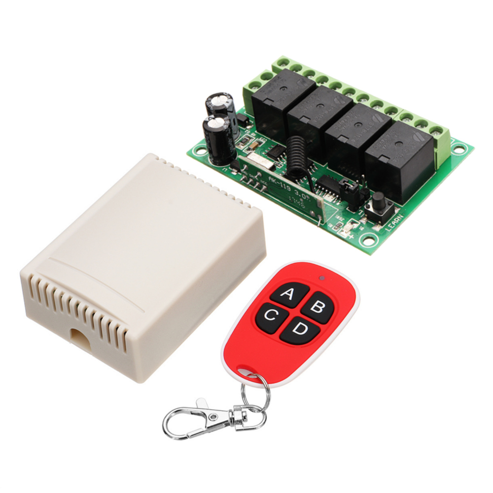 NEW 433MHz DC 12V Learning Type Four Way Wireless Remote Control Switch 4CH Channel Relay Control ModuleNEW 433MHz DC 12V Learning Type Four Way Wireless Remote Control Switch 4CH Channel Relay Control Module