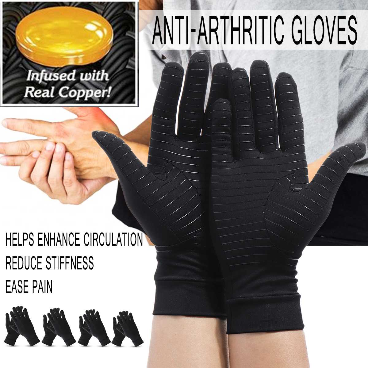 1 Pair Womens Mens Copper fiber Therapy Compression Gloves Hand Arthritis Joint Pain Relief Half Full Finger  Therapy Gloves sticker