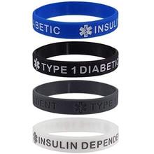 1pcs Medical alert Diabetic Type one 1 diabetes insulin Dependent silicone wristband bracelet
