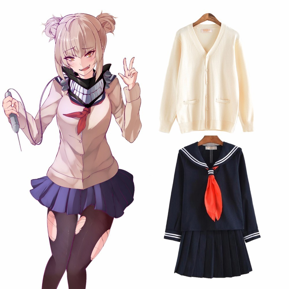 My Hero Academia Boku No Hero Cosplay Costume Himiko Toga JK Uniform Women Sailor Suits With Cardigan Girls Academy Uniform