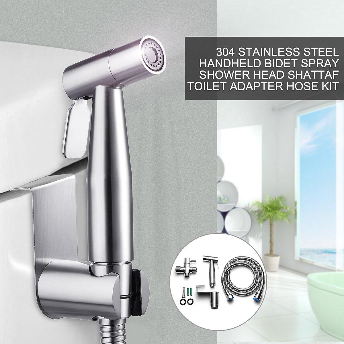 G1/2 304 Stainless Steel Handheld Bidet SprayToilet Nozzle Sprayer Shower Set 2Modes Douche Kit Bidet Faucet 2Type Adaptor