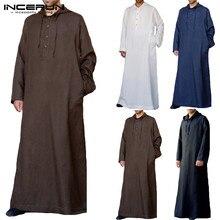 720f8087fd3 INCERUN 2019 Men Islamic Muslim Arab Kaftan Solid Long Sleeve Hooded Jubba  Thobe Saudi Arabia Robe
