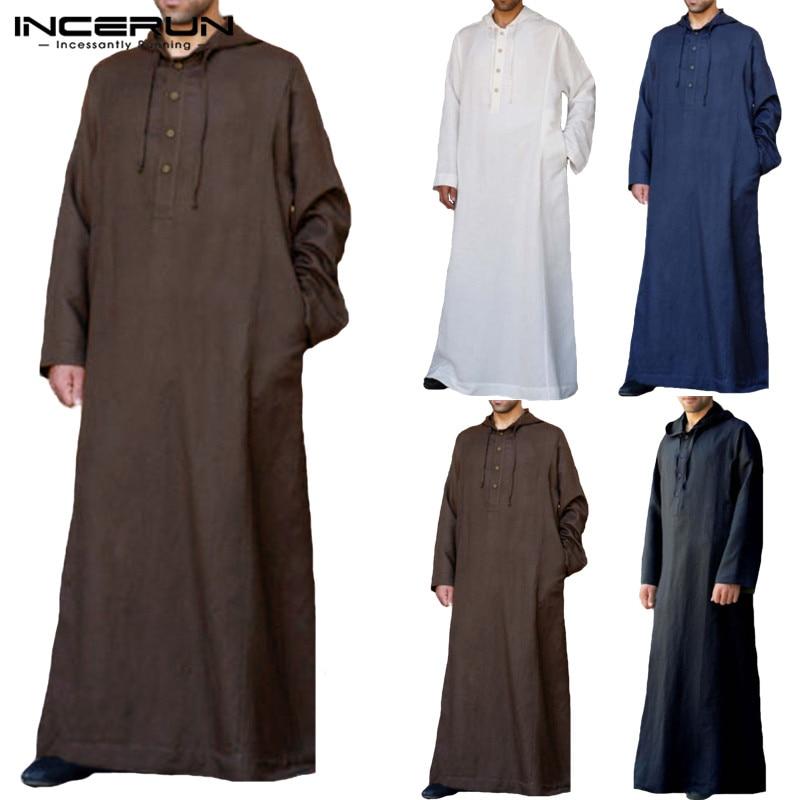 INCERUN Islamic Muslim Men/'s Clothing Long Sleeve Thobe Kaftan T Shirt Dress Top