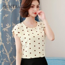 Gentillove 2019 Summer Dot Floral Print Chiffon Blouse Shirt Women Short Sleeve O-Neck Boho Tops Casual Female Plus Size Blusas