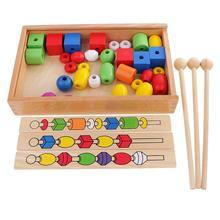 Kids Children Montessori Beads Hand-eye Coordination Exercise Game Education Toy Teaching Aid
